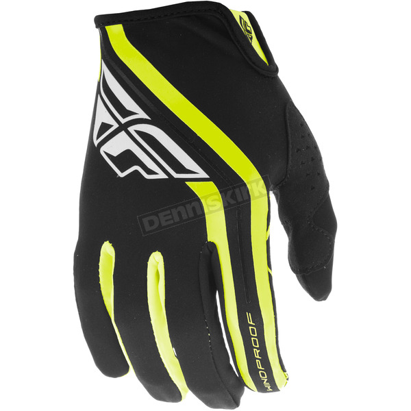 Fly Racing Black/Hi-Vis Windproof Lite Gloves - 371-14908