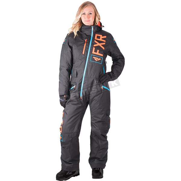 FXR Racing Women's Black/Electric Tangerine/Aqua Squadron Monosuit - 182905-1035-10