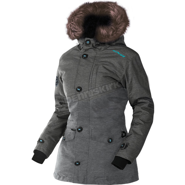 FXR Racing Women's Charcoal Heather/Aqua Svalbard Parka - 170214-0650-12