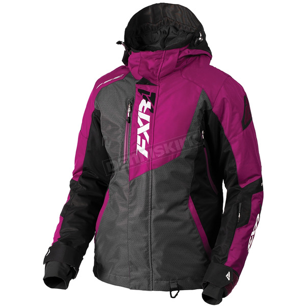 FXR Racing Women's Chacoal Tri/Wineberry Vertical Pro Jacket - 180202-0885-08
