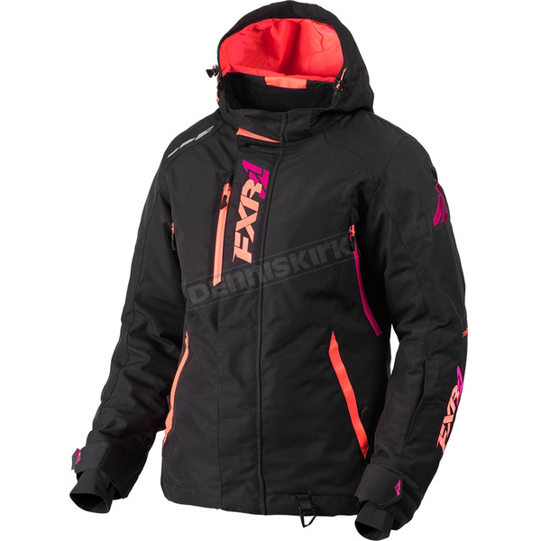 FXR Racing Women's Black/Fuchsia/Electric Tangerine Vertical Pro Jacket - 180202-1085-12