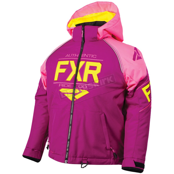 FXR Racing Child's Wineberry/Electric Pink/Hi-Vis Clutch Jacket - 180411-8594-02