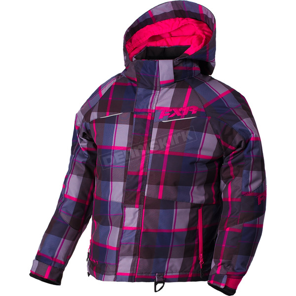 FXR Racing Child's Fuchsia/Wineberry Plaid Fresh Jacket - 180414-9086-04