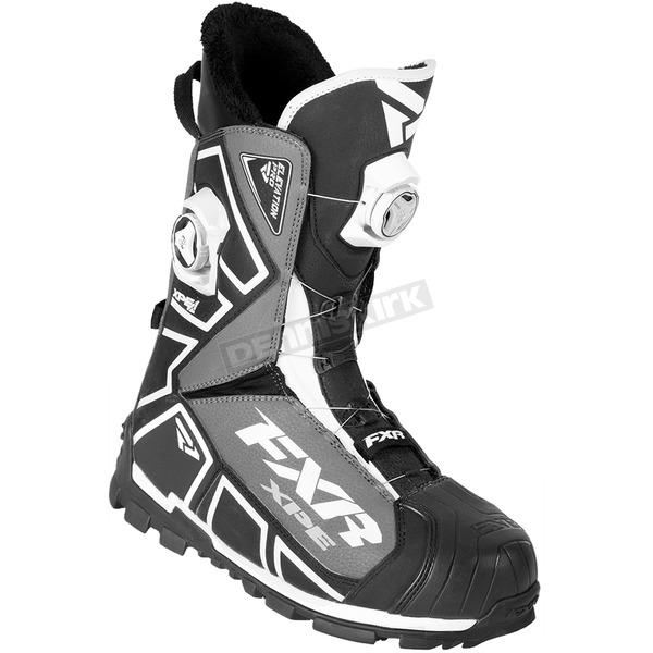 FXR Racing Black/White/Charcoal Elevation Lite Pro Dual Zone Boa Boots - 180702-1001-42