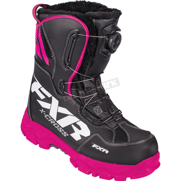 FXR Racing Women's Black/Fuchsia X-Cross BOA Boots - 180704-1090-39