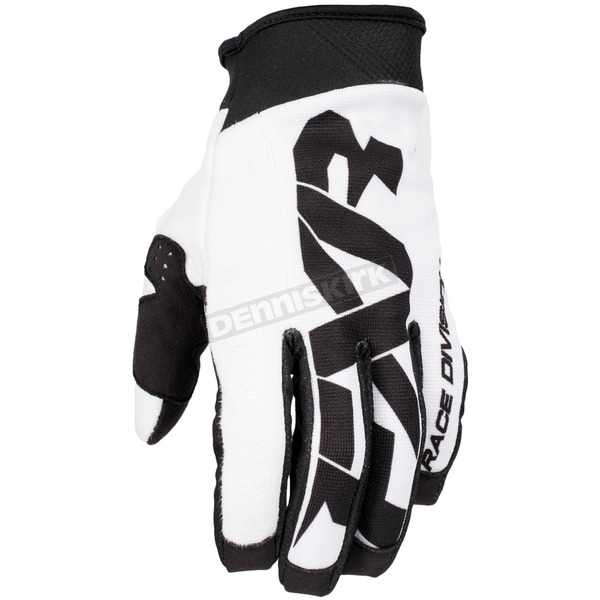 FXR Racing White/Black Cold Cross Race Pursuit Slip-On Glove - 173344-0110-16
