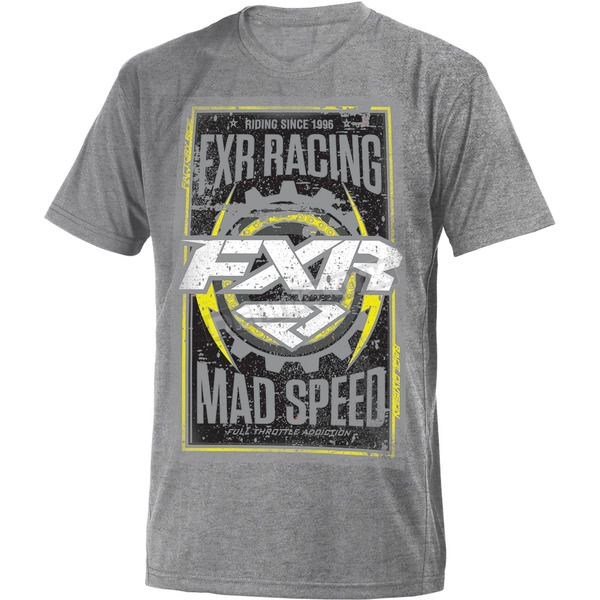 FXR Racing Gray Heather/Hi-Vis Mad Speed T-Shirt - 181302-0765-16