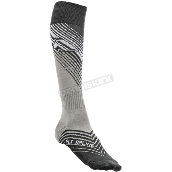 Fly Racing Youth Black/White Thin MX Socks - 350-0430Y