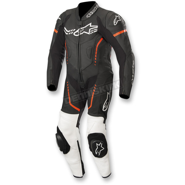 Black/White/Flo Red Youth GP Plus Cup 1-Piece Leather Suit  - 31405181231130