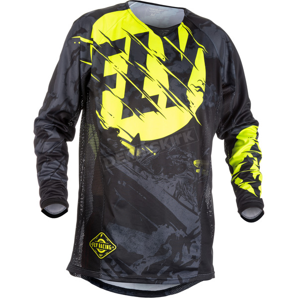 Fly Racing Youth Black/Hi-Vis Kinetic Outlaw Jersey - 371-520YX