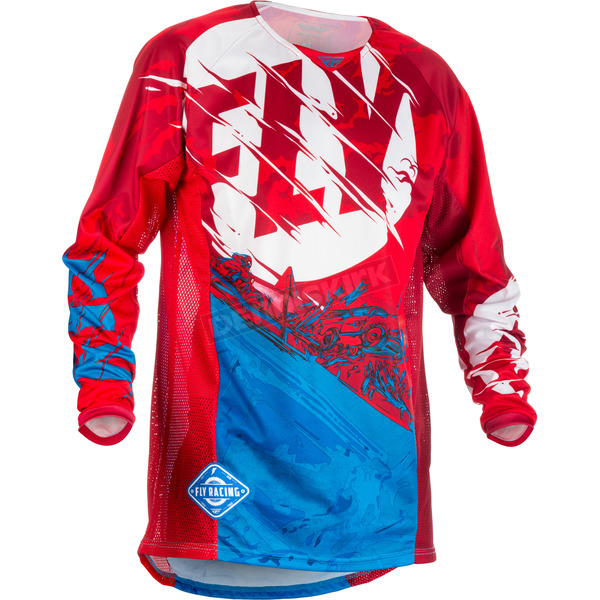 Fly Racing Youth Red/Blue Kinetic Outlaw Jersey - 371-522YX