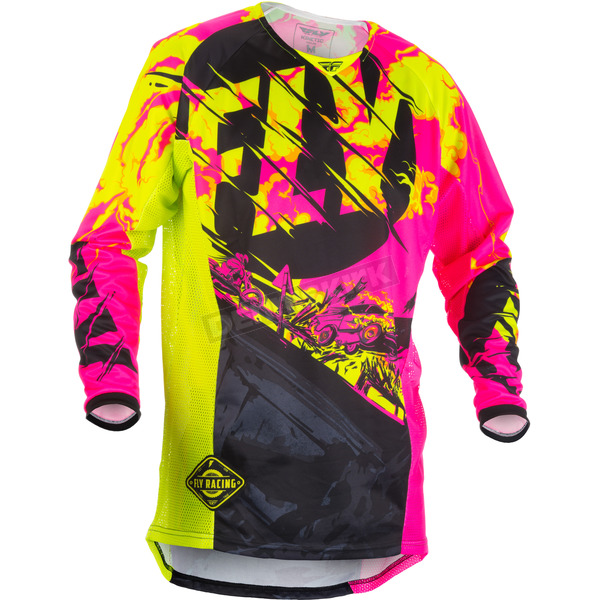 Fly Racing Youth Black/Neon Pink/Hi-Vis Kinetic Outlaw Jersey - 371-529YL