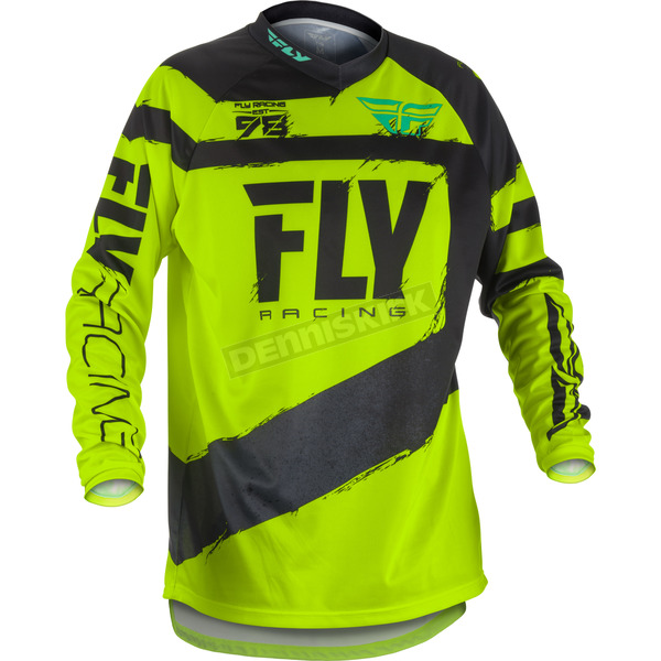 Fly Racing Youth Black/Hi-Vis F-16 Jersey - 371-929YM