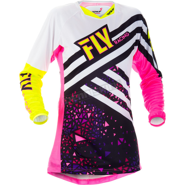 Fly Racing Youth Girl's Neon Pink/Hi-Vis Kinetic Jersey - 371-629YL