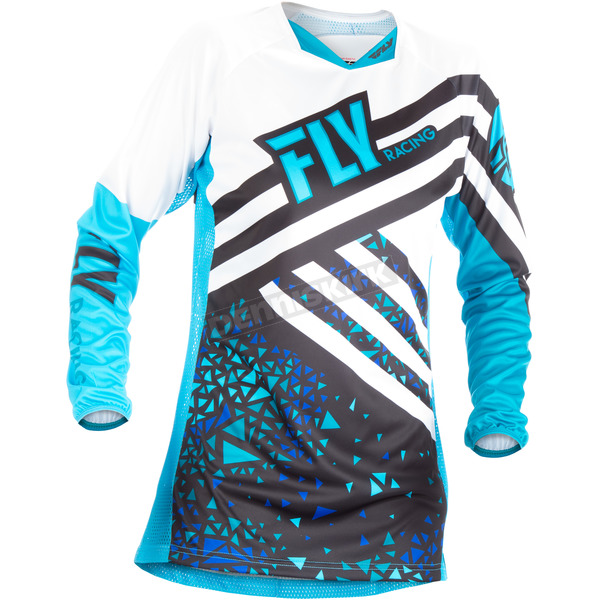 Fly Racing Women's Blue/Black Kinetic Jersey - 371-621M