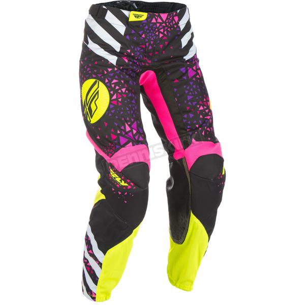 Fly Racing Youth Girl's Neon Pink/Hi-Vis Kinetic Pants - 371-63901