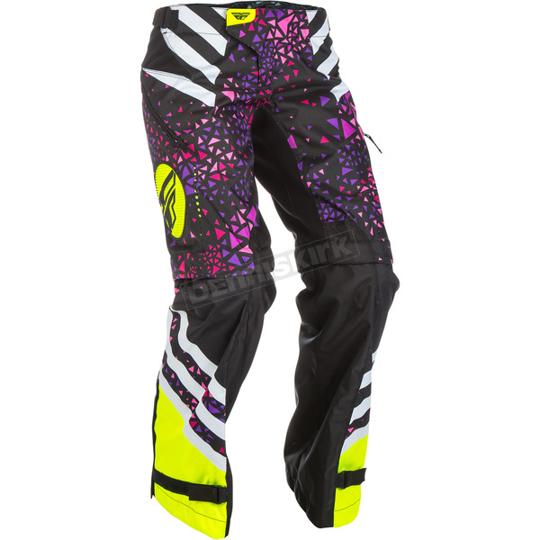 Fly Racing Women's Neon Pink/Hi-Vis Kinetic Over the Boot Pants - 371-65907