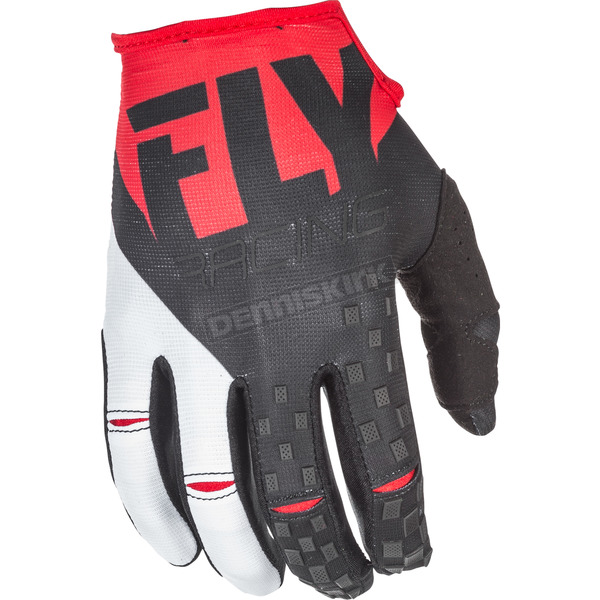 Fly Racing Youth Red/Black Kinetic Gloves - 371-41206