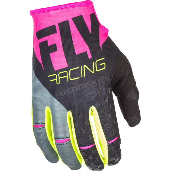 Fly Racing Youth Pink/Black/Gray Kinetic Gloves - 371-41905