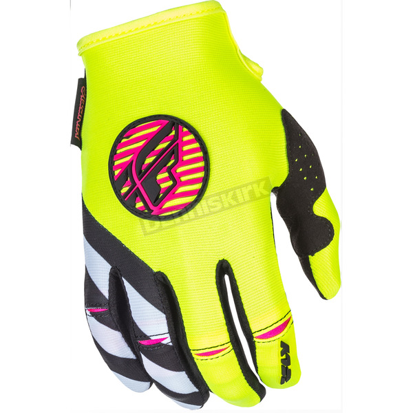 Fly Racing Youth Girl's Pink/White/Hi-Vis Kinetic Gloves - 371-61903