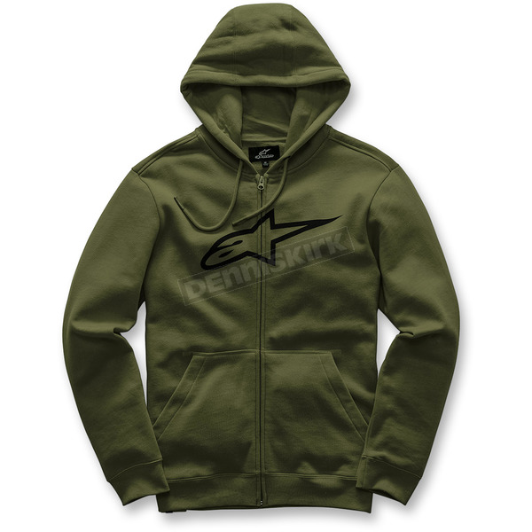 Alpinestars Military Green  Ageless Zip-Up Fleece Hoody - 101753007690XL