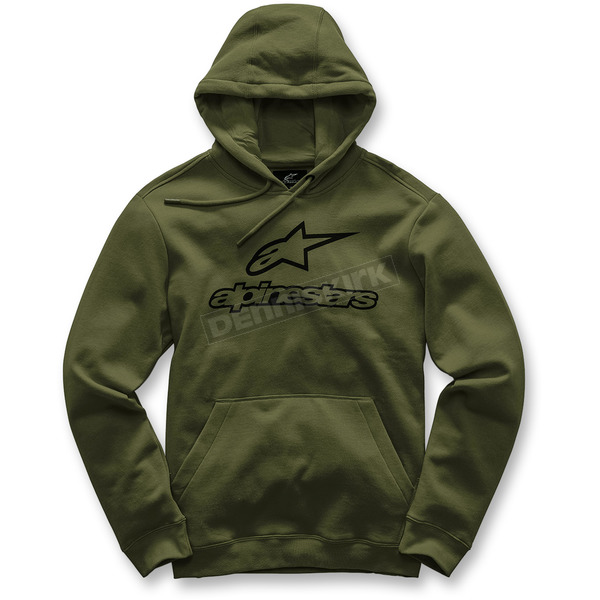 Alpinestars Military Green Always Pullover Fleece Hoody - 101752006690L