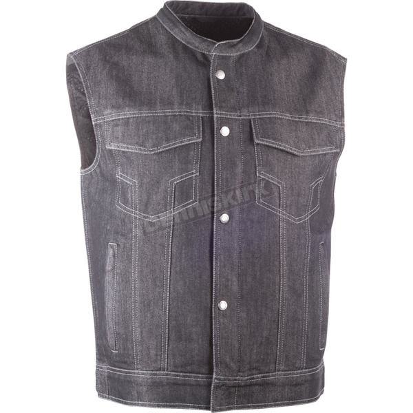 Highway 21 Black Club Collar Iron Sights Denim Vest - 489-1078L