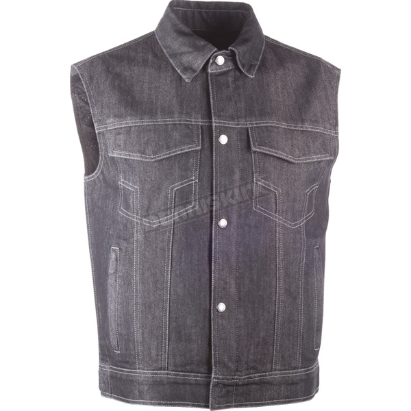 Highway 21 Black Traditional Collar Iron Sights Denim Vest - 489-10753X