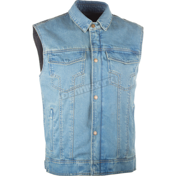 Highway 21 Blue Traditional Collar Iron Sights Denim Vest - 489-1076X