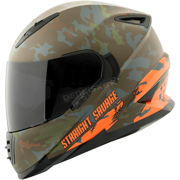 Speed and Strength Orange/Green Straight Savage SS1600 Helmet - 884531