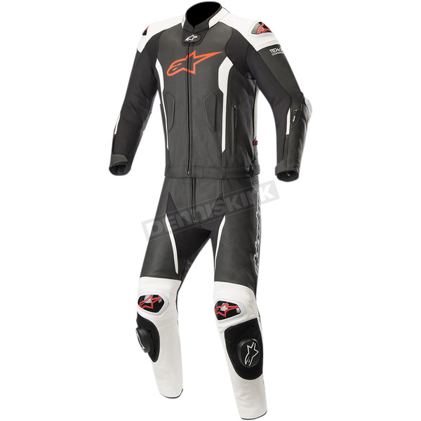 Black/Red/Fluorescent White Missile Two-Piece Leather Suit - 3160119-1231-46