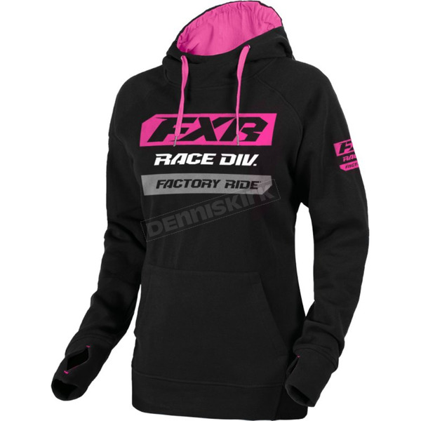 Women's Black/Fuchsia Race Division Pullover Hoody - 193346-1090-04