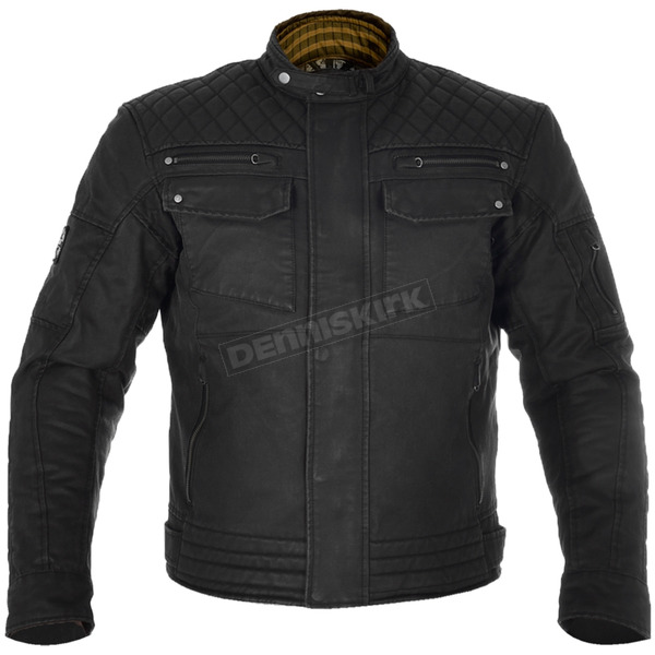 Black Hardy Wax Cotton Motorcycle Riding Jacket - TM180L