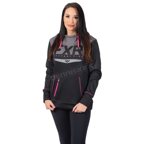 Women's Black/Electric Pink Helium Tech Pullover Hoody - 201215-1094-16