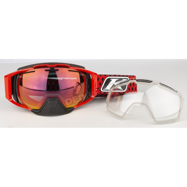 High Risk Red Oculus Diamond Fade Snow Goggles w/Red Mirror Smoke Lens - 3240-000-000-014