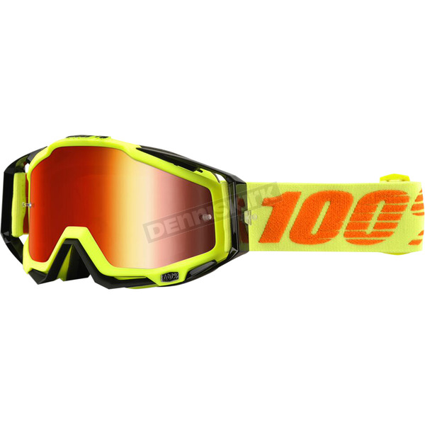 100% Neon Attack Racecraft Goggles w/Mirror Red Lens - 50110-026-02