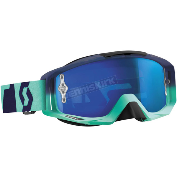Scott Oxide Turquoise/Blue Tyrant Goggles w/Blue Chrome Lens - 240585-4973278