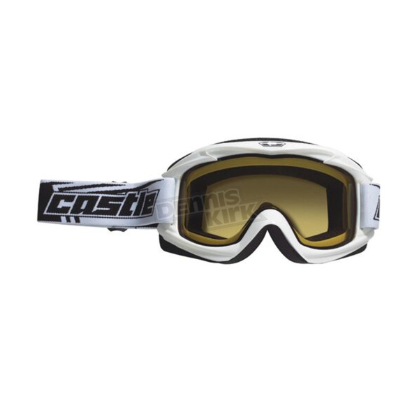 Castle X White Launch Snow Goggles w/Yellow Lens - 64-1227