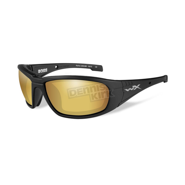 Wiley X Matte Black Boss Climate Control Sunlasses w/Polarized Gold Mirror Lens - CCBOS04
