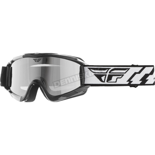 Fly Racing Black Focus Snow Goggle with Chrome Smoke Dual Lens - 37-3030