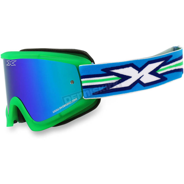 EKS Brand Fluorescent Green GOX Flat Out Goggles w/Blue Mirror Lens - 067-10355