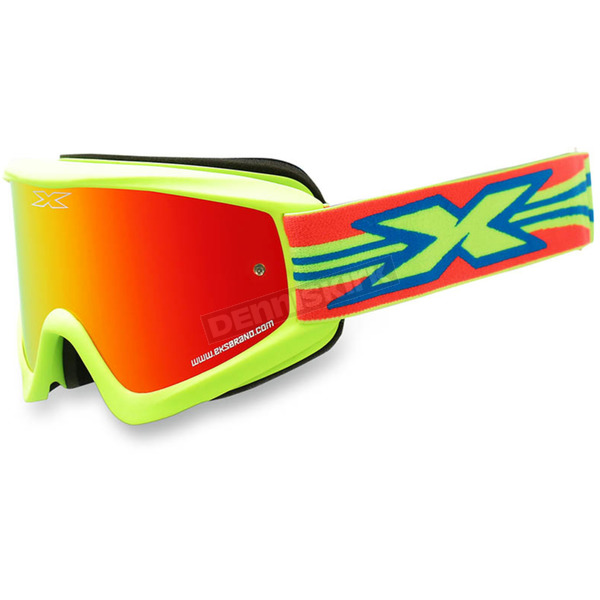 EKS Brand Fluorescent Yellow GOX Flat Out Goggles w/Red Mirror Lens - 067-10385