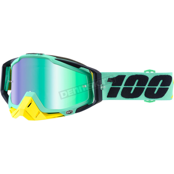 100% Racecraft Kloog Goggles w/Green Mirror Anti-Fog Lens+Extra Clear Lens - 50110-206-02