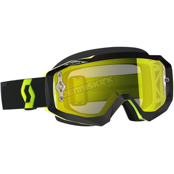 Scott Black Fluorescent Yellow Hustle MX Goggles w/Yellow Chrome Lens - 246430-5405289