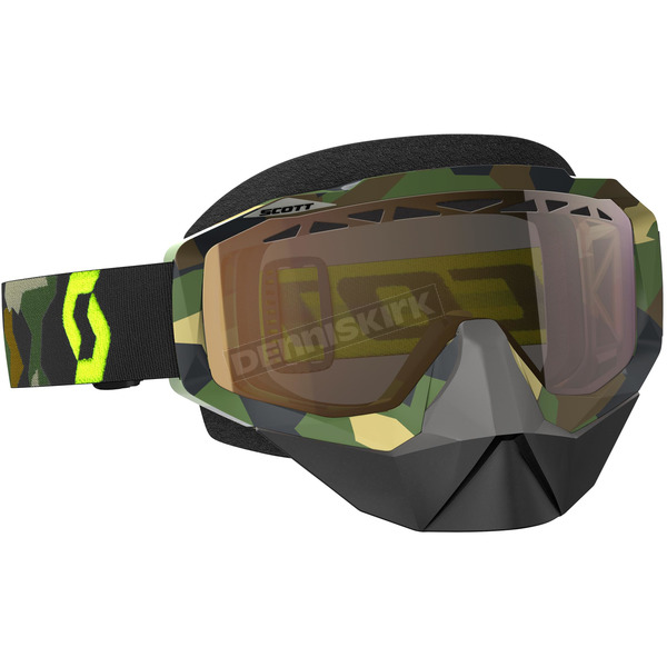 Scott Gray/Fluorescent Yellow Hustle Snowcross Goggles w/Gold Chrome Lens - 246439-5409311
