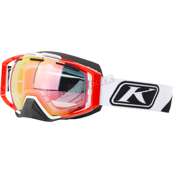 Klim Slice White Oculus Snow Goggles w/Smoke Red Mirror Lens - 3240-000-000-004
