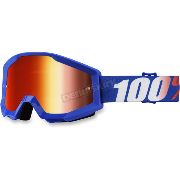 100% Strata Nation MX Goggles w/Mirror Red Lens - 50410-236-02