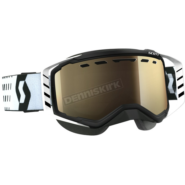 Scott Black/White Prospect Snowcross Goggles w/L.S. Bronze Chrome Lens - 262581-1007245