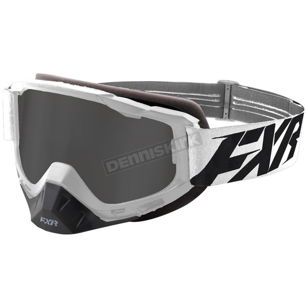 FXR Racing White/Black Boost XPE Goggle w/Smoke Lens w/Platinum Silver Finish - 183100-0110-00