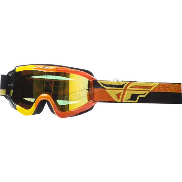 Fly Racing Youth Yellow/Orange/Black Zone Composite Goggles w/Gold Mirror/Yellow Lens - 37-4053
